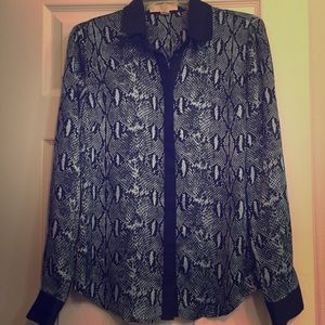 New Michael Kors snakeprint button down blouse